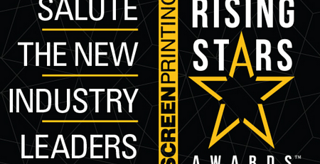 showing text, Salute the new Industry Leaders screen printing rising star adwards with a yellow star