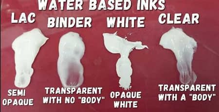 water based inks explaint, lac, binder, white and clear