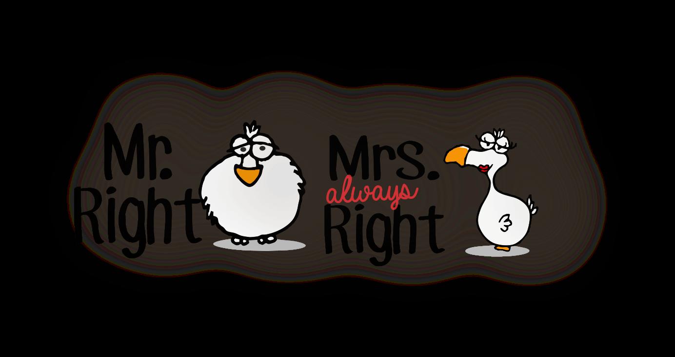 Mr and MRS right dodo design chilliisland
