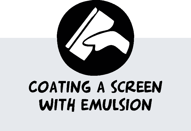 coating a screen with emulsion screen printing